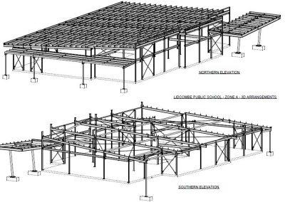 Steel Detailing HVSD 3D Arrangement for Public School
